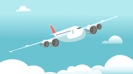 Airplane in flight with white clouds and blue sky background. Vector illustration