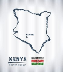 Kenya vector chalk drawing map isolated on a white background