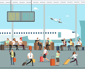 Business people with luggage at airport vector travel concept