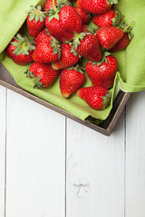 Bowl strawberry fresh fruits. Healthy organic berry. Copy space for text.