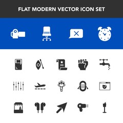 Modern, simple vector icon set with finger, airplane, photography, bathroom, river, tap, equality, camera, hour, photo, chair, photographer, faucet, furniture, document, paper, sink, technology icons