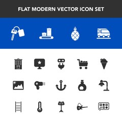 Modern, simple vector icon set with exotic, power, travel, business, hairdryer, fresh, bag, image, cart, building, automobile, star, car, computer, electricity, transportation, fruit, pineapple icons