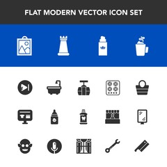 Modern, simple vector icon set with cart, clean, sign, car, cook, plastic, play, aroma, health, toilet, music, style, bathroom, image, drink, kitchen, hygiene, cable, fashion, milk, chess, cup icons