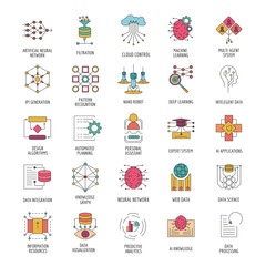 Neural network icons set, cartoon style