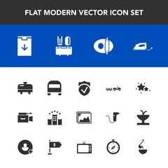 Modern, simple vector icon set with kitchen, vacation, photo, electric, food, sign, cooking, heater, microphone, camera, frame, video, picture, iron, soup, truck, image, water, bus, night, hotel icons