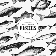 Fish seamless vector pattern. Can be use for restaurants, packaging, emblem, vector image. Vintage illustration. Banner template.