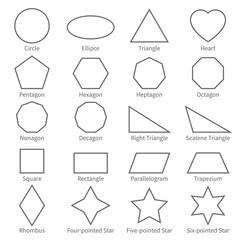 Basic geometric outline flat shapes. Educational geometry vector diagram for kids