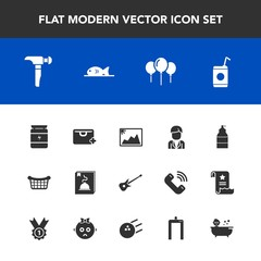 Modern, simple vector icon set with photo, sign, image, baby, market, bath, music, fitness, food, store, paint, male, add, birthday, sport, spray, fish, meat, beverage, kid, boy, guitar, drink icons