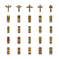 Totem icons set, cartoon style