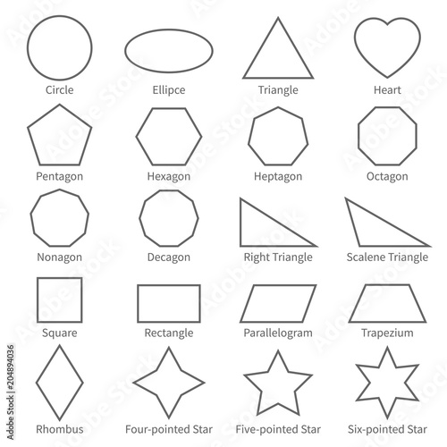Basic geometric outline flat shapes educational geometry vector basic geometric outline flat shapes educational geometry vector diagram for kids ccuart Gallery
