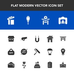 Modern, simple vector icon set with energy, travel, box, shrine, roller, camera, weapon, street, brush, taiko, open, drum, real, estate, city, culture, lamp, photo, present, shop, home, japanese icons