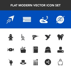 Modern, simple vector icon set with bike, plane, water, dental, comfortable, dentist, music, fitness, health, sandwich, bicycle, armchair, hydrant, fire, sweet, paper, work, safety, photo, fly icons
