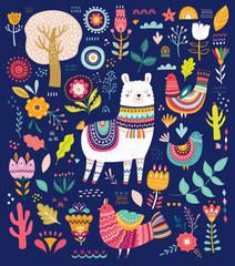 Decorative illustration with llama