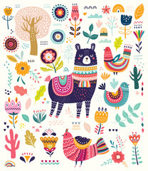 Decorative illustration with llama and other elements