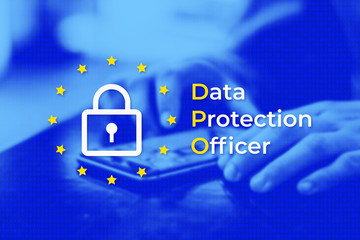 DPO - Data Protection Officer. EU flag with blue photo background. User protects their data on a mobile phone