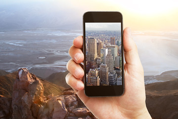 Creative phone city landscape background