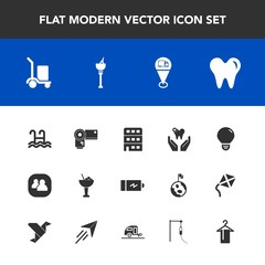 Modern, simple vector icon set with location, white, architecture, cocktail, hanger, idea, dentist, clothing, drink, people, light, glass, electricity, water, social, team, technology, power icons
