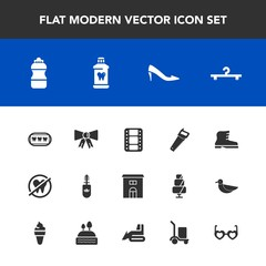 Modern, simple vector icon set with film, mascara, hippie, entertainment, bulldozer, delivery, construction, video, black, water, makeup, movie, shoe, brush, machinery, dental, glasses, footwear icons