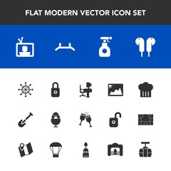 Modern, simple vector icon set with decoration, rudder, shovel, spring, glass, sign, pesticide, pull, tool, helm, train, technology, office, chemical, nautical, photo, chief, drink, easter, lock icons