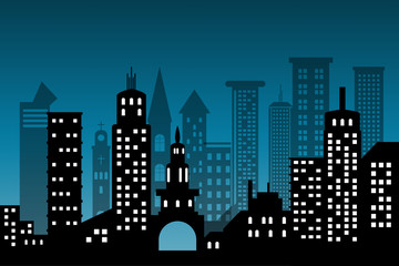 silhouette cityscape architectural building skyscrapers icon. black design flat style on  blue deep background with copy space Illustration vector
