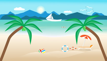 summer time with umbrella ball chair on beach. boat in sea and sun bird fly bright over blue sky cloud mountain background. concept holiday illustration vector flat design