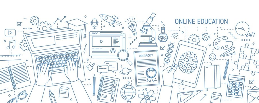 Horizontal banner with hands typing on computer and various office supplies drawn with contour lines on white background. Online education, internet studying. Vector illustration in lineart style.