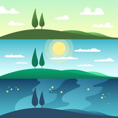 Beautiful summer landscape in different times of day. Cartoon vector illustration