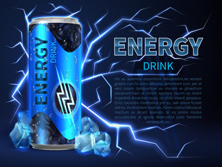 Energy drink can surrounded of electrical discharges and sparks on dark blue. Packaging advertising vector background