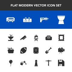 Modern, simple vector icon set with road, artist, fountain, style, science, speed, musical, american, water, cook, transportation, transport, table, football, laboratory, leather, ball, knife icons
