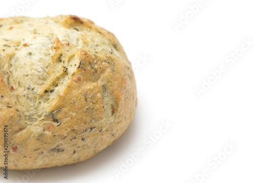 Herb Artisan Bread On A White Background