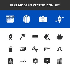 Modern, simple vector icon set with fish, schedule, sea, sailboat, calendar, cut, report, photography, bonfire, photo, axe, percussion, seafood, fork, pinafore, graph, chart, tool, flame, cook icons