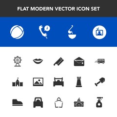 Modern, simple vector icon set with tv, picture, dinner, speed, wheel, screen, bus, spoon, female, mail, food, axe, spray, beauty, road, soup, ball, transportation, park, call, communication icons