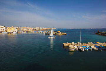 Otranto Harbour with yachts and fish boats moored. Otranto is a