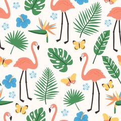Summer seamless pattern with exotic jungle foliage, pink flamingos, exotic blooming flowers and butterflies on white background. Flat bright colored vector illustration for wallpaper, wrapping paper.