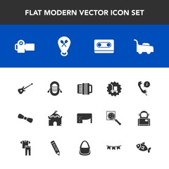 Modern, simple vector icon set with technology, medieval, warehouse, package, table, camera, photography, white, photographer, cargo, ship, support, musical, tower, travel, building, castle, bow icons