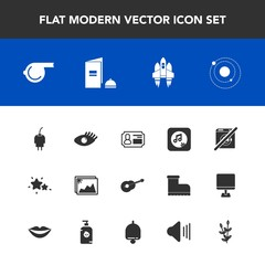 Modern, simple vector icon set with rocket, power, spaceship, sky, picture, technology, musical, face, brochure, note, star, sign, planet, image, identity, cable, space, equipment, sport, dont icons