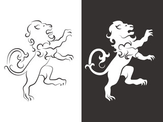 Heraldic lion vector. Line and silhouette lions for arms