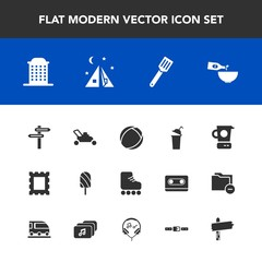 Modern, simple vector icon set with garden, sport, way, frame, outdoor, pan, leisure, beverage, travel, dessert, summer, business, fruit, ball, lawn, photo, skating, skate, arrow, direction, ice icons