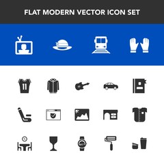 Modern, simple vector icon set with guitar, phone, coffee, bus, left, screen, website, train, check, tv, shirt, business, match, image, travel, competitive, photo, transportation, clothing, move icons