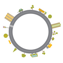 Cartoon illustration. Vector round frame in flat style. Urban landscape road. Abstract vector template.