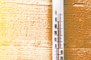 Heat, thermometer shows the temperature is hot concept of hot weather.