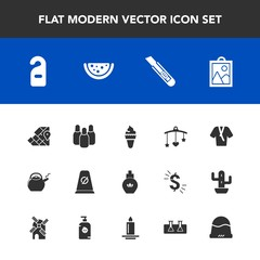 Modern, simple vector icon set with picture, toy, beauty, hotel, traffic, food, headwear, street, cone, aroma, travel, cutter, privacy, laboratory, bowling, image, mobile, kitchen, motel, cream icons