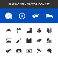 Modern, simple vector icon set with pub, security, pan, technology, bar, craft, picture, boot, sofa, weather, couch, image, style, music, spaceship, rainy, foot, water, beer, fashion, album, wet icons