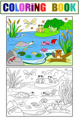 wetland landscape with animals color and coloring vector for adults