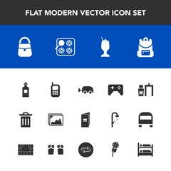 Modern, simple vector icon set with paper, liquid, scan, fashion, bag, trash, cocktail, photo, picture, play, book, phone, joystick, xray, machine, kitchen, bottle, beverage, game, box, gas, bar icons