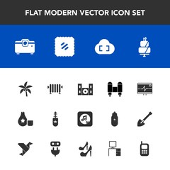 Modern, simple vector icon set with space, brush, mail, hot, rocket, japanese, japan, video, sound, food, cloud, palm, mascara, cuisine, sake, post, heart, health, home, projector, letter, pulse icons
