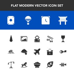 Modern, simple vector icon set with astronaut, minute, vacation, japan, game, shrine, poker, space, picture, alcohol, cosmonaut, play, seafood, time, sky, aircraft, wine, cosmos, waitress, food icons