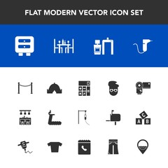 Modern, simple vector icon set with technology, pants, accounting, style, woman, xray, drawer, photography, adventure, work, medicine, female, fashion, elegant, location, finance, treadmill, bar icons