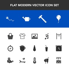 Modern, simple vector icon set with style, tea, celebration, art, teapot, note, bag, equipment, baby, sky, kid, spanner, clothes, musical, picture, object, clothing, birthday, fashion, exercise icons