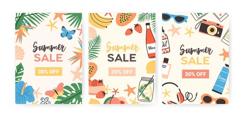 Collection of flyer templates for summer sale promotion or advertisement decorated with jungle foliage, exotic flowers, tropical fruits, sunglasses, seashells. Flat colorful vector illustration.